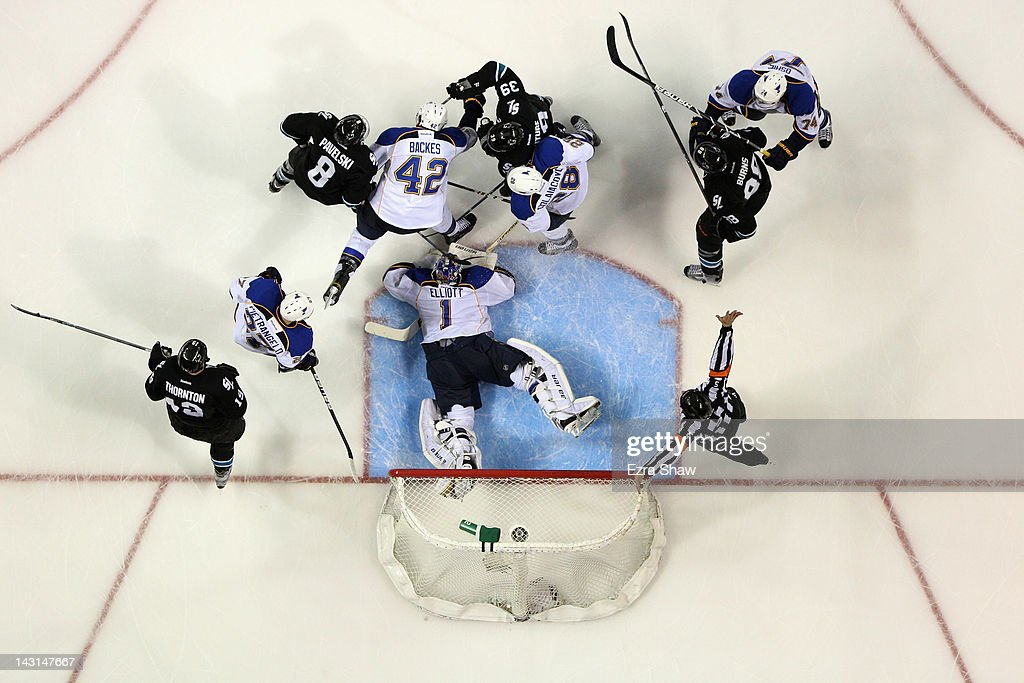 <a gi-track='captionPersonalityLinkClicked' href=/galleries/search?phrase=Brian+Elliott&family=editorial&specificpeople=687032 ng-click='$event.stopPropagation()'>Brian Elliott</a> #1 of the St. Louis Blues makes a save against the San Jose Sharks in Game Four of the Western Conference Quarterfinals during the 2012 NHL Stanley Cup Playoffs at HP Pavilion on April 19, 2012 in San Jose, California.