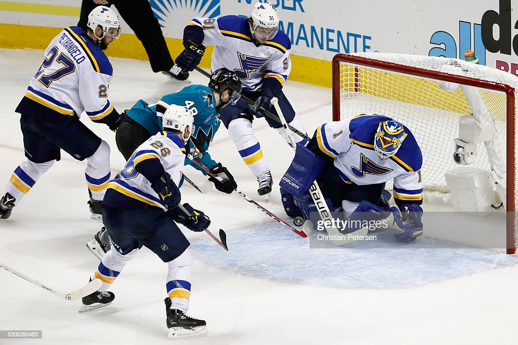Brian Elliott #1 of the St. Louis Blues makes a save against Tomas Hertl #48 of the San Jose Sharks in game three of the Western Conference Finals during the 2016 NHL Stanley Cup Playoffs at SAP Center on May 19, 2016 in San Jose, California.