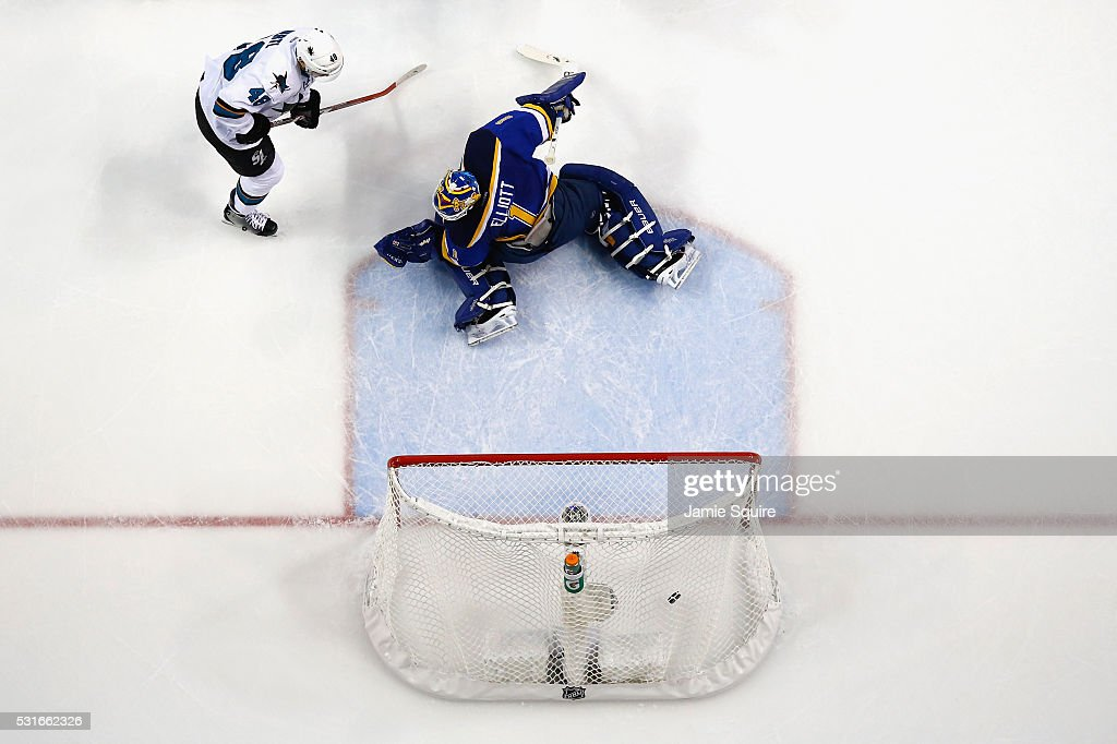 <a gi-track='captionPersonalityLinkClicked' href=/galleries/search?phrase=Brian+Elliott&family=editorial&specificpeople=687032 ng-click='$event.stopPropagation()'>Brian Elliott</a> #1 of the St. Louis Blues reacts after being scored on during the first period after a shot by Joe Pavelski #8 of the San Jose Sharks (not pictured) was deflected into the net by <a gi-track='captionPersonalityLinkClicked' href=/galleries/search?phrase=Tomas+Hertl&family=editorial&specificpeople=8761287 ng-click='$event.stopPropagation()'>Tomas Hertl</a> #48 in Game One of the Western Conference Final during the 2016 NHL Stanley Cup Playoffs at Scottrade Center on May 15, 2016 in St Louis, Missouri.