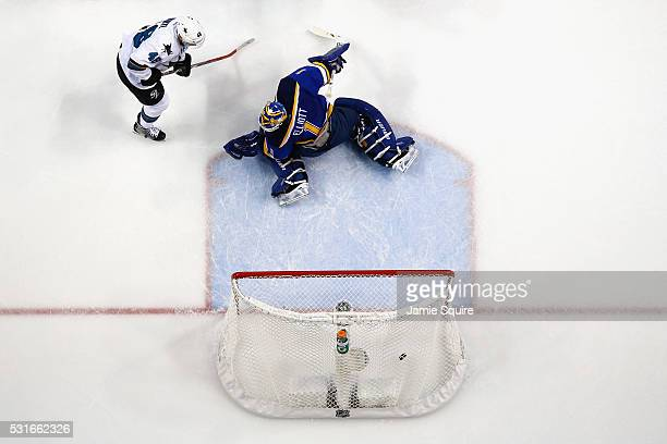 Brian Elliott of the St Louis Blues reacts after being scored on during the first period after a shot by Joe Pavelski of the San Jose Sharks was...