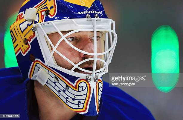 Brian Elliott of the St Louis Blues skates during pregame the warm up before taking on the Dallas Stars in Game Two of the Western Conference Second...
