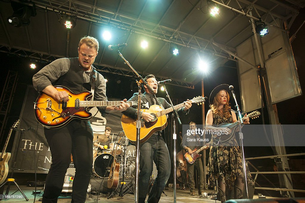 Brian Elmquist, <a gi-track='captionPersonalityLinkClicked' href=/galleries/search?phrase=Zach+Williams+-+Musician&family=editorial&specificpeople=13488795 ng-click='$event.stopPropagation()'>Zach Williams</a> and Kanene Pipkin of The Lone Bellow perform at the GRAMMY Block Party at Owen Bradley Park on May 14, 2013 in Nashville, Tennessee.