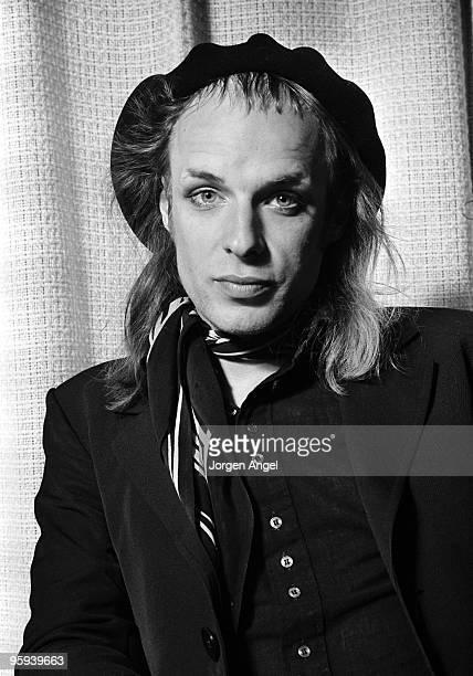 Brian Eno poses for a portrait session in 1974 in Copenhagen Denmark