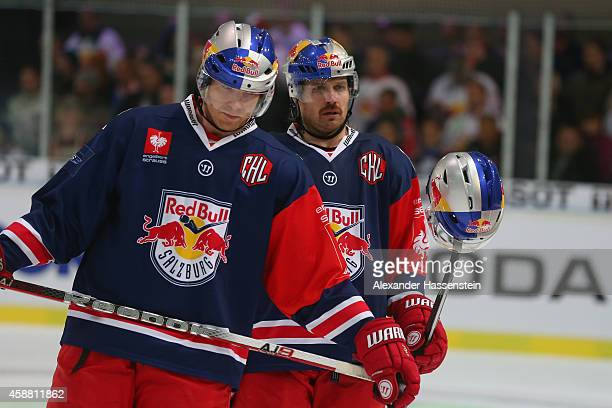 Brian Fahey and Troy Milam of Salzburg react during the Champions Hockey League PlayOff Round of 16 game between Red Bull Salzburg and Lulea Hockey...