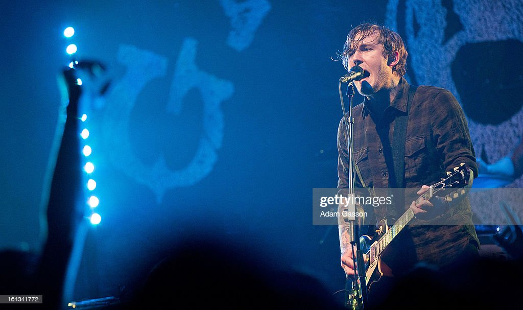 <a gi-track='captionPersonalityLinkClicked' href=/galleries/search?phrase=Brian+Fallon&family=editorial&specificpeople=3408585 ng-click='$event.stopPropagation()'>Brian Fallon</a> from The Gaslight Anthem performs at O2 Academy on March 22, 2013 in Bristol, England.