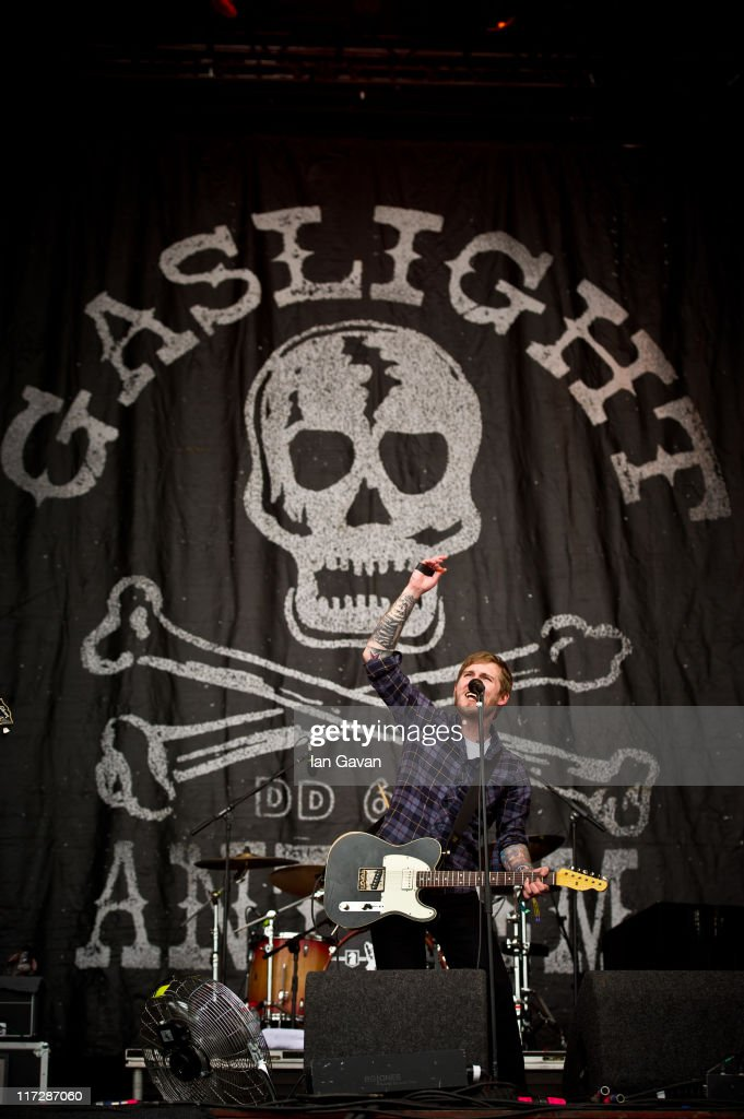 Brian Fallon of Gaslight Anthem performs live on the pyramid stage during the Glastonbury Festival at Worthy Farm, Pilton on June 25, 2011 in Glastonbury, England. The festival, which started in 1970 when several hundred hippies paid 1 GBP to attend, has grown into Europe's largest music festival attracting more than 175,000 people over five days.