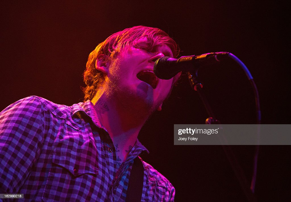 <a gi-track='captionPersonalityLinkClicked' href=/galleries/search?phrase=Brian+Fallon&family=editorial&specificpeople=3408585 ng-click='$event.stopPropagation()'>Brian Fallon</a> of The Gaslight Anthem performs in concert at Egyptian Room at Old National Centre on March 2, 2013 in Indianapolis, Indiana.