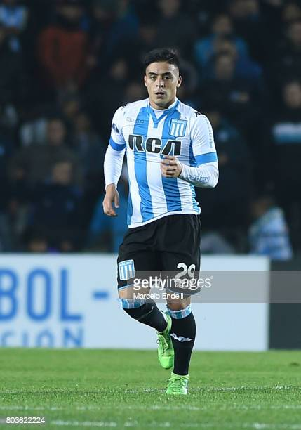 Brian Fernandez of Racing Club celebrates after scoring the second goal of his team during the first leg match between Racing Club and Independiente...