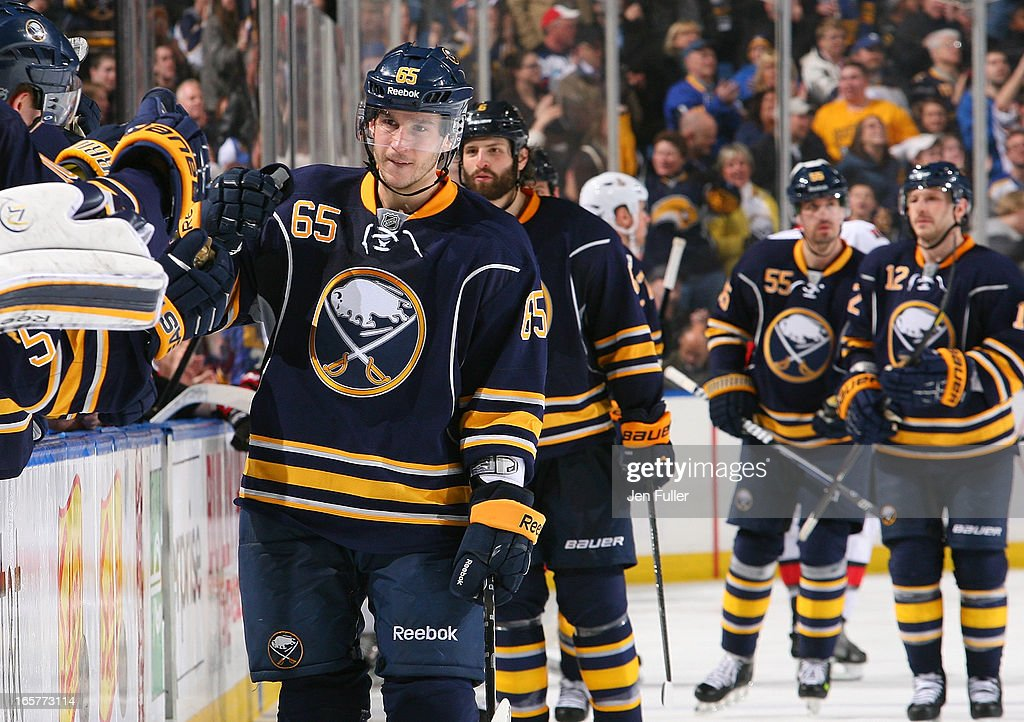 Brian Flynn #65 of the Buffalo Sabres celebrates his game-winning third-period goal against the Ottawa Senators on April 05, 2013 at the First Niagara Center in Buffalo, New York.