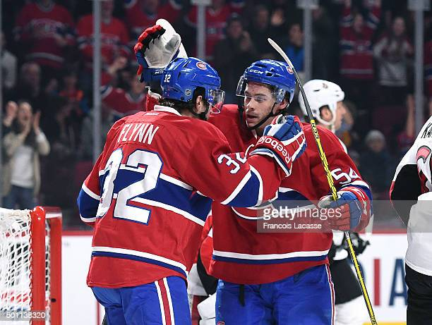 Brian Flynn of the Montreal Canadiens celebrates after scoring a goal against Ottawa Senators in the NHL game at the Bell Centre on December 12 2015...