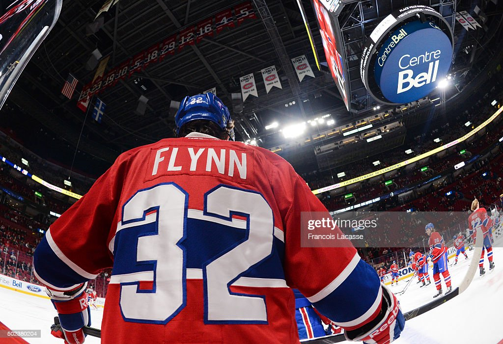 <a gi-track='captionPersonalityLinkClicked' href=/galleries/search?phrase=Brian+Flynn+-+Ice+Hockey+Player&family=editorial&specificpeople=10837297 ng-click='$event.stopPropagation()'>Brian Flynn</a> #32 of the Montreal Canadiens warms up prior to the game against the Los Angeles Kings in the NHL game at the Bell Centre on December 17, 2015 in Montreal, Quebec, Canada.