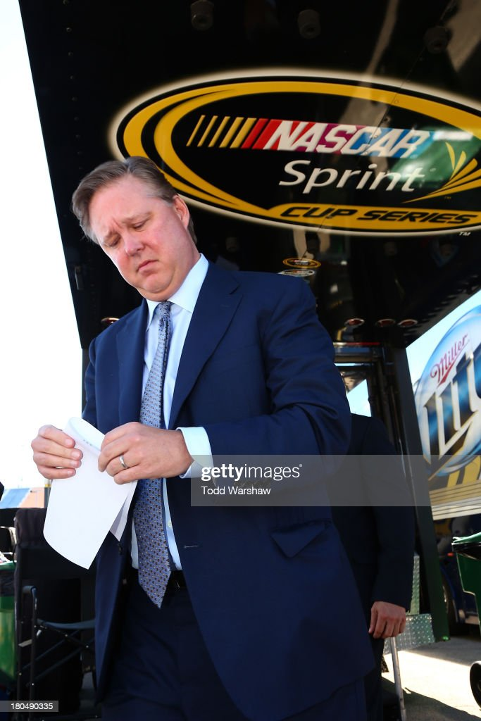 <a gi-track='captionPersonalityLinkClicked' href=/galleries/search?phrase=Brian+France&family=editorial&specificpeople=675720 ng-click='$event.stopPropagation()'>Brian France</a>, chairman & CEO of NASCAR, leaves the competition hauler during practice for the NASCAR Sprint Cup Series Geico 400 at Chicagoland Speedway on September 13, 2013 in Joliet, Illinois.