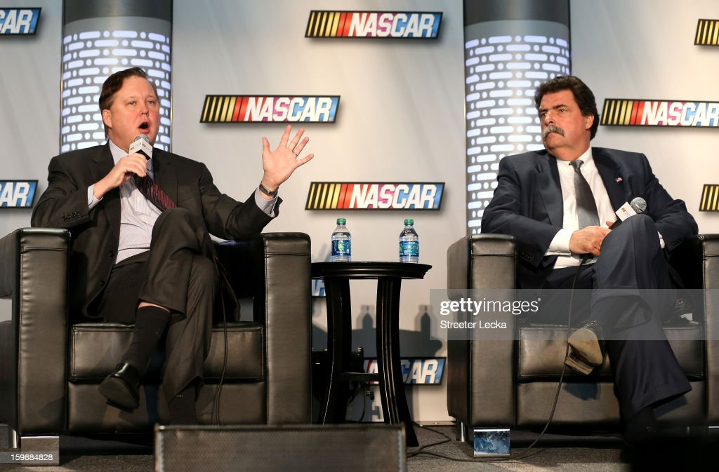 <a gi-track='captionPersonalityLinkClicked' href=/galleries/search?phrase=Brian+France&family=editorial&specificpeople=675720 ng-click='$event.stopPropagation()'>Brian France</a>, NASCAR Chairman and CEO, and <a gi-track='captionPersonalityLinkClicked' href=/galleries/search?phrase=Mike+Helton+-+Racing+Executive&family=editorial&specificpeople=226522 ng-click='$event.stopPropagation()'>Mike Helton</a>, President of NASCAR, speak to the media about the upcoming season during the 2013 NASCAR Sprint Media Tour at the NASCAR Hall of Fame on January 22, 2013 in Concord, North Carolina.