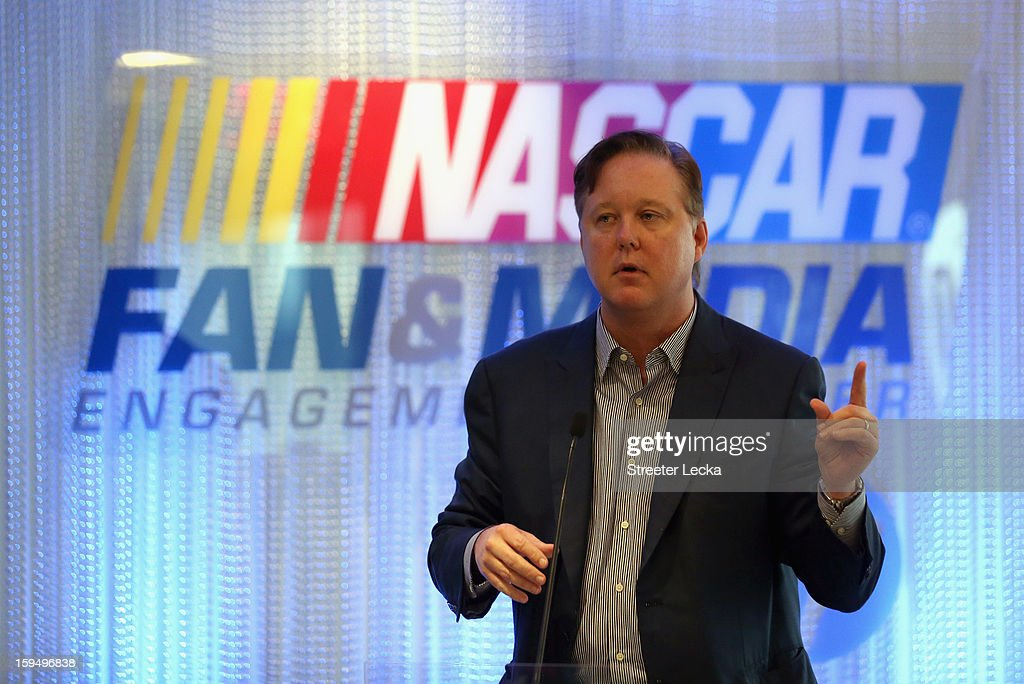 <a gi-track='captionPersonalityLinkClicked' href=/galleries/search?phrase=Brian+France&family=editorial&specificpeople=675720 ng-click='$event.stopPropagation()'>Brian France</a>, NASCAR Chairman and CEO, speaks to the media during the NASCAR Fan and Media Engagement Center Unveiling at NASCAR Plaza on January 14, 2013 in Charlotte, North Carolina.