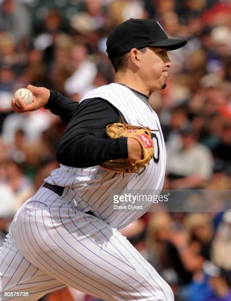 Brian Fuentes of the Colorado Rockies delivers a pitch during the MLB game against the Arizona Diamondbacks at Coors Field on April 6 2008 in Denver...