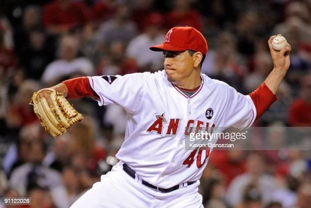 Brian Fuentes of the Los Angeles of Anaheim throws against the New York Yankees during the ninth inning of the baseball game on September 21 2009 in...