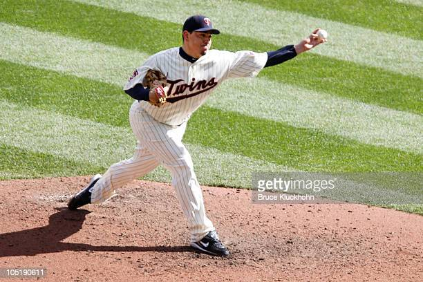 Brian Fuentes of the Minnesota Twins pitches against the Toronto Blue Jays on October 2 2010 at Target Field in Minneapolis Minnesota The Twins won 54