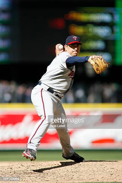 Brian Fuentes of the Minnesota Twins pitches during the game against the Seattle Mariners at Safeco Field on August 28 2010 in Seattle Washington The...