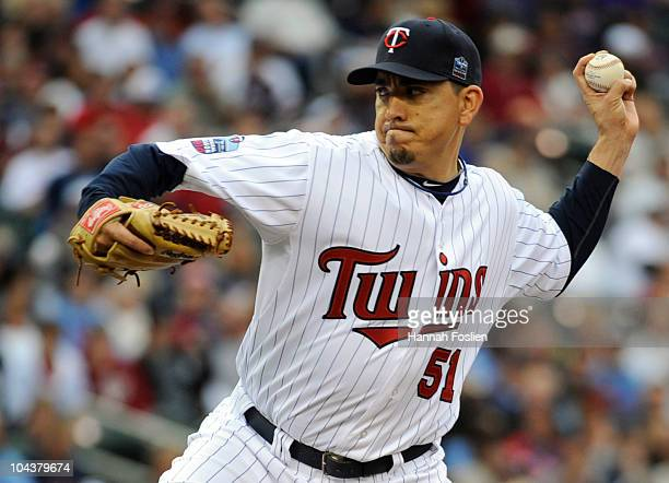 Brian Fuentes of the Minnesota Twins pitches in the eighth inning against the Cleveland Indians during their game on September 22 2010 at Target...