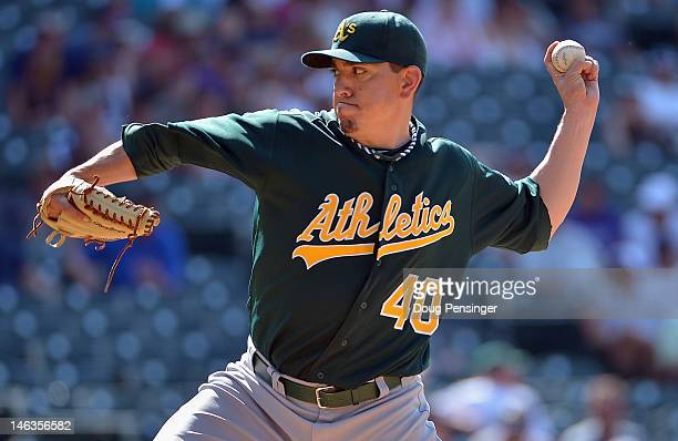 Brian Fuentes of the Oakland Athletics delivers against the Colorado Rockies during Interleague Play at Coors Field on June 14 2012 in Denver...