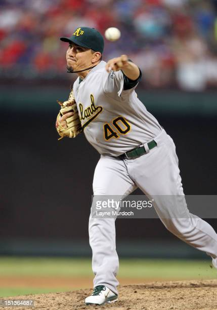 Brian Fuentes of the Oakland Athletics pitches against the Texas Rangers on June 30 2012 at the Rangers Ballpark in Arlington in Arlington Texas
