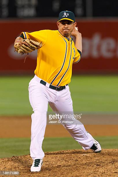Brian Fuentes of the Oakland Athletics pitches against the Texas Rangers during the ninth inning at Oco Coliseum on June 5 2012 in Oakland California...