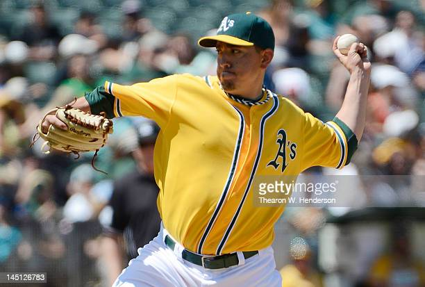 Brian Fuentes of the Oakland Athletics pitches in the ninth inning against the Los Angeles Angels of Anaheim at Oco Coliseum on May 23 2012 in...