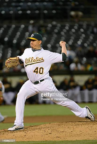 Brian Fuentes of the Oakland Athletics pitches in the ninth inning against the Texas Rangers at Oco Coliseum on June 6 2012 in Oakland California