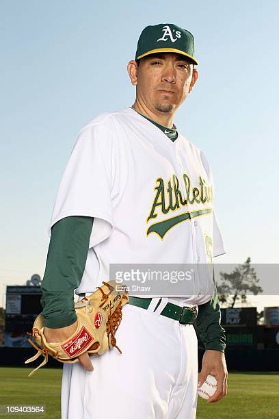 Brian Fuentes of the Oakland Athletics poses for a portrait during media photo day at Phoenix Municipal Stadium on February 24 2011 in Phoenix Arizona