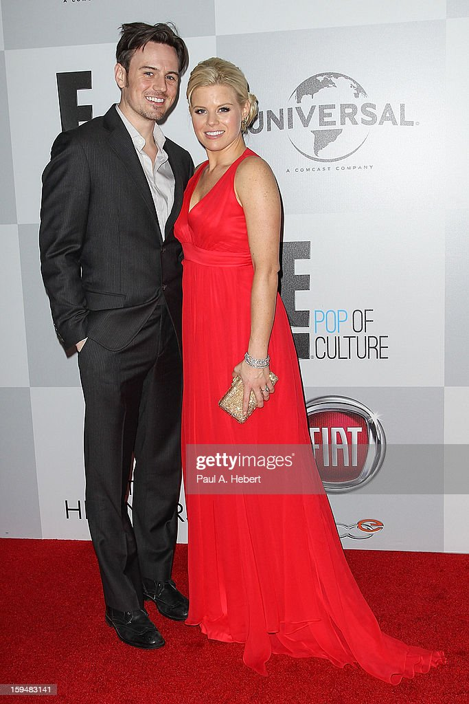 Brian Gallagher (L) and actress Megan Hilty arrive at NBC Universal's 70th Annual Golden Globe Awards after party held at the Beverly Hilton Hotel on January 13, 2013 in Beverly Hills, California.
