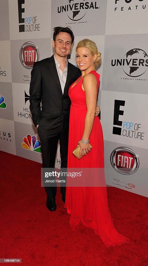 Brian Gallagher (L) and actress <a gi-track='captionPersonalityLinkClicked' href=/galleries/search?phrase=Megan+Hilty&family=editorial&specificpeople=602492 ng-click='$event.stopPropagation()'>Megan Hilty</a> attend the NBCUniversal Golden Globes viewing and after party held at The Beverly Hilton Hotel on January 13, 2013 in Beverly Hills, California.