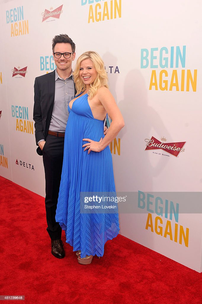 Brian Gallagher (L) and actress <a gi-track='captionPersonalityLinkClicked' href=/galleries/search?phrase=Megan+Hilty&family=editorial&specificpeople=602492 ng-click='$event.stopPropagation()'>Megan Hilty</a> attend the New York premiere of the Weinstein company's BEGIN AGAIN, sponsored by Delta Airlines and Budweiser at SVA Theater on June 25, 2014 in New York City.