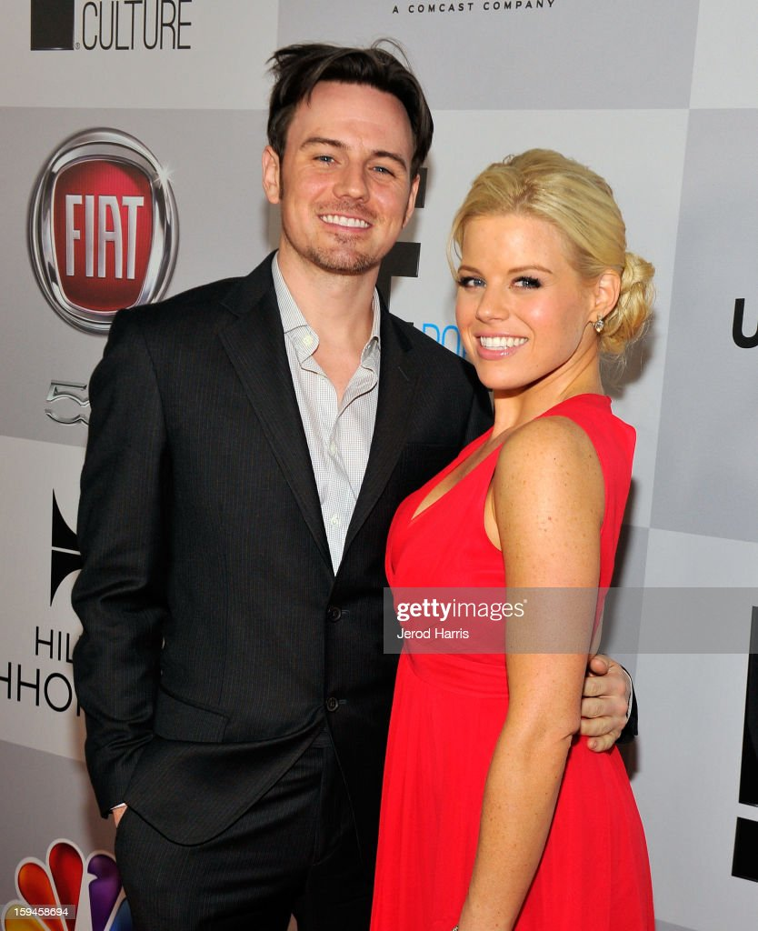 Brian Gallagher (L) and actress <a gi-track='captionPersonalityLinkClicked' href=/galleries/search?phrase=Megan+Hilty&family=editorial&specificpeople=602492 ng-click='$event.stopPropagation()'>Megan Hilty</a> attends the NBCUniversal Golden Globes viewing and after party held at The Beverly Hilton Hotel on January 13, 2013 in Beverly Hills, California.