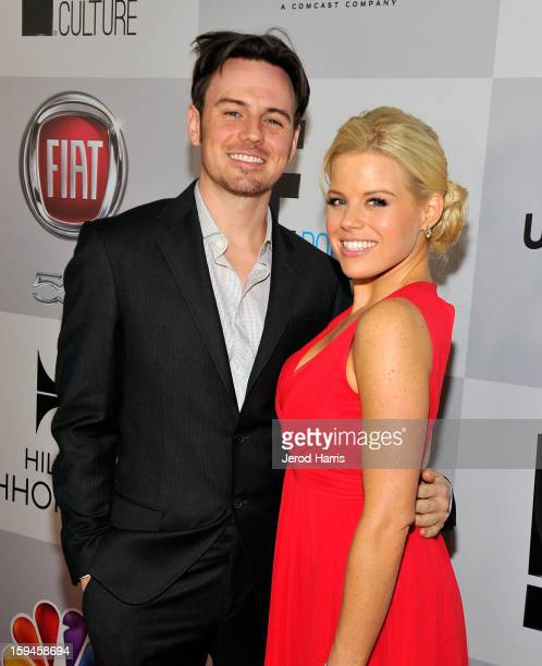 Brian Gallagher and actress Megan Hilty attends the NBCUniversal Golden Globes viewing and after party held at The Beverly Hilton Hotel on January 13...