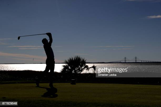 Brian Gay of the United States plays his shot from the 14th tee during the final round of The RSM Classic at Sea Island Golf Club Seaside Course on...