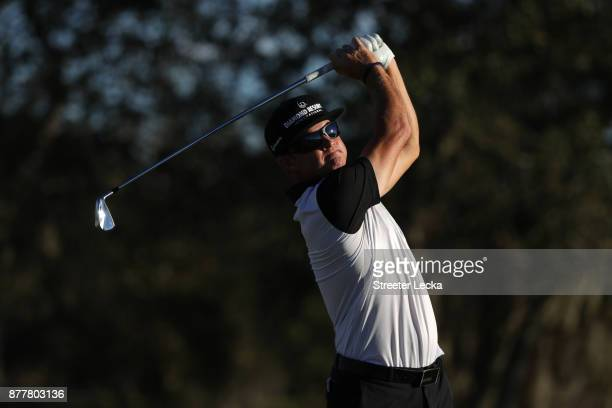 Brian Gay of the United States plays his shot from the 17th tee during the final round of The RSM Classic at Sea Island Golf Club Seaside Course on...