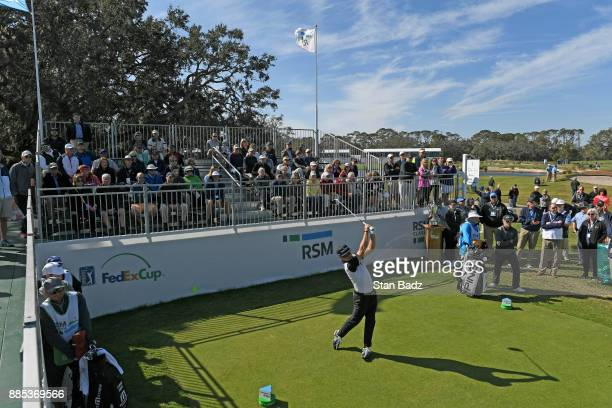 Brian Gay plays a tee shot on the first hole during the final round of The RSM Classic at the Sea Island Resort Seaside Course on November 19 2017 in...