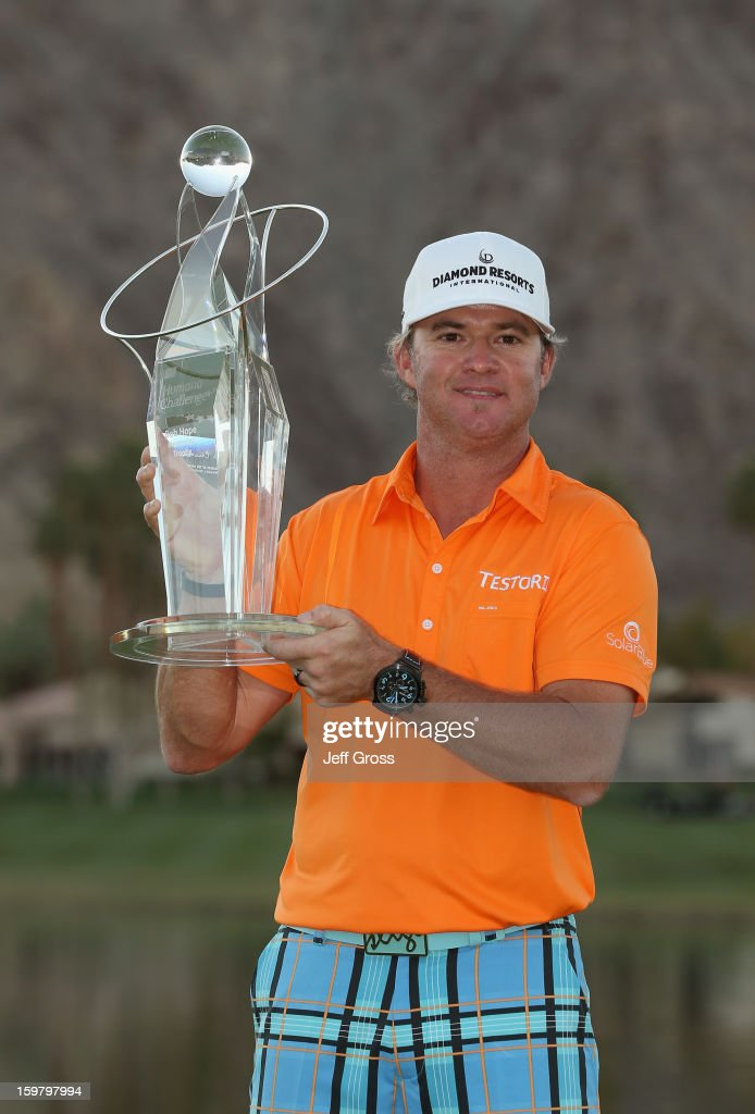 <a gi-track='captionPersonalityLinkClicked' href=/galleries/search?phrase=Brian+Gay&family=editorial&specificpeople=588007 ng-click='$event.stopPropagation()'>Brian Gay</a> poses with the trophy after winning the Humana Challenge In Partnership With The Clinton Foundation at the Palmer Private Course at PGA West on January 20, 2013 in La Quinta, California.