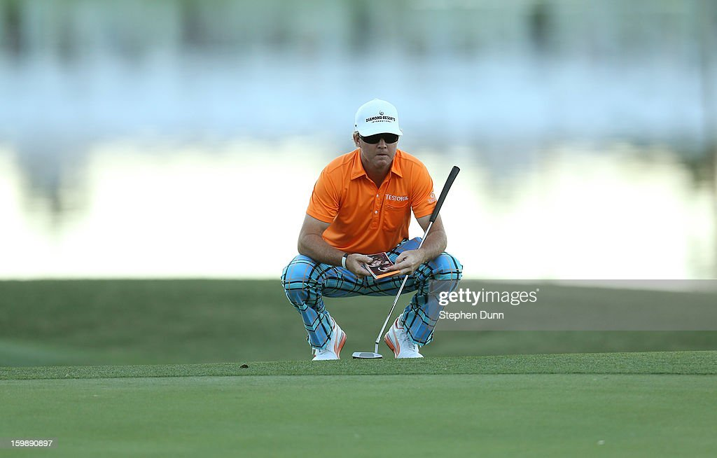 <a gi-track='captionPersonalityLinkClicked' href=/galleries/search?phrase=Brian+Gay&family=editorial&specificpeople=588007 ng-click='$event.stopPropagation()'>Brian Gay</a> prepares for birdie putt on the second playoff hole to win the tournament during the final round of the Humana Challenge In Partnership With The Clinton Foundation on the Palmer Private Course at PGA West on January 20, 2013 in La Quinta, California.