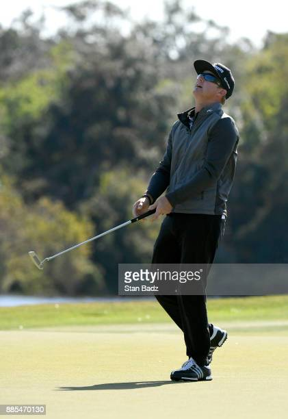 Brian Gay reacts to his missed putt on the third hole during the final round of The RSM Classic at the Sea Island Resort Seaside Course on November...