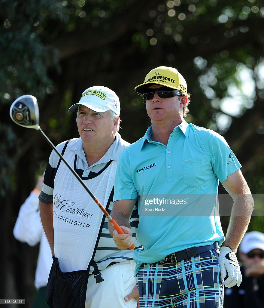 Brian Gay watches his drive on the fifth hole during the second round of the World Golf Championships-Cadillac Championship at TPC Blue Monster at Doral on March 8, 2013 in Doral, Florida.