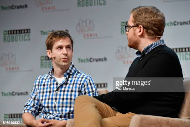 Brian Gerkey of Open Robotics Deepu Talla of Nvidia and Heather Ames of Neurala speak and at the TechCrunch Sessions Robotics at Kresge Auditorium on...