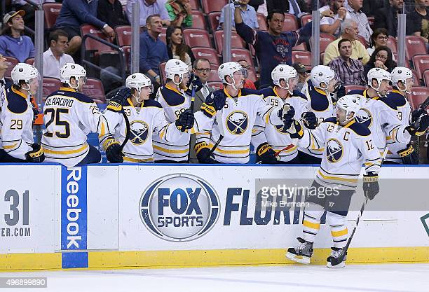 Brian Gionta of the Buffalo Sabres celebrates a goal during a game against the Florida Panthers at BBT Center on November 12 2015 in Sunrise Florida