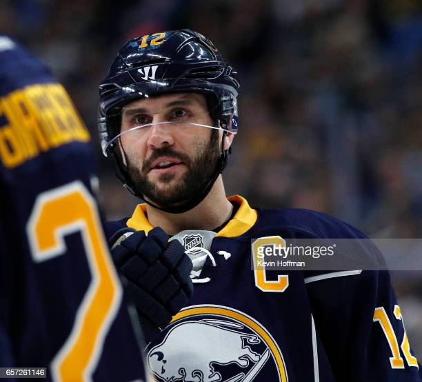 Brian Gionta of the Buffalo Sabres during the game against the Pittsburgh Penguins at the KeyBank Center on March 21 2017 in Buffalo New York Brian...