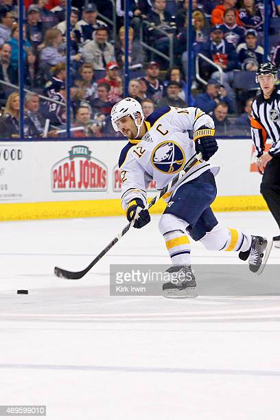Brian Gionta of the Buffalo Sabres fires the puck into the zone during the game against the Columbus Blue Jackets on April 10 2015 at Nationwide...