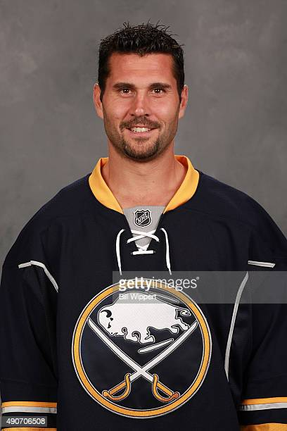 Brian Gionta of the Buffalo Sabres poses for his official headshot for the 20152016 season on September 17 2015 at the First Niagara Center in...