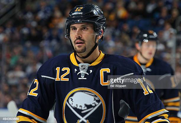 Brian Gionta of the Buffalo Sabres prepares for a faceoff against the Toronto Maple Leafs during an NHL game on October 21 2015 at the First Niagara...