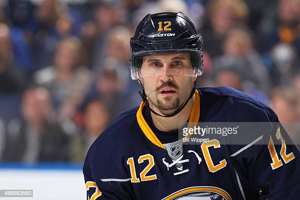 Brian Gionta of the Buffalo Sabres skates against the Carolina Hurricanes during an NHL game on November 27 2015 at the First Niagara Center in...