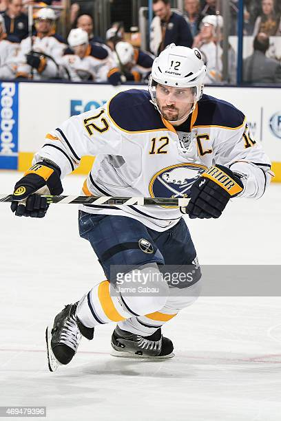 Brian Gionta of the Buffalo Sabres skates against the Columbus Blue Jackets on April 10 2015 at Nationwide Arena in Columbus Ohio