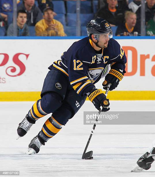 Brian Gionta of the Buffalo Sabres skates against the Dallas Stars during an NHL game on November 17 2015 at the First Niagara Center in Buffalo New...